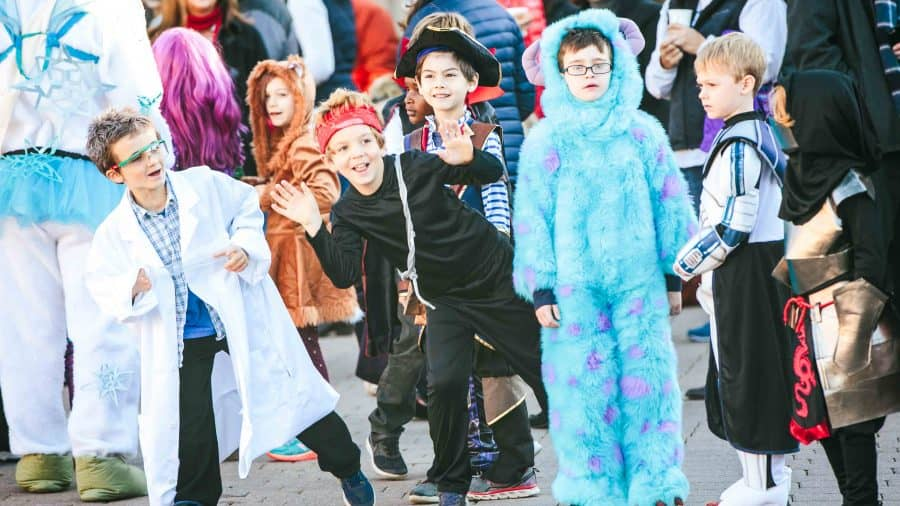 Students in costume during school Halloween Parade