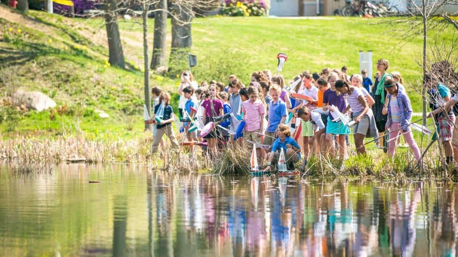 Group of students participate in Recess Regatta