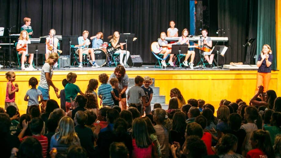 Crowd of students at school meeting