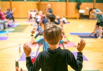 Students do yoga at Brookwood