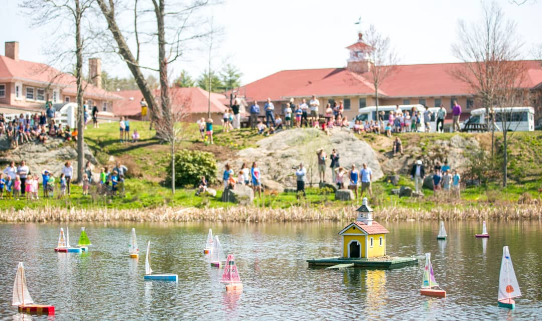 Boats on the water during Recess Regatta