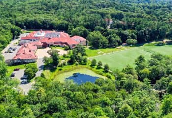 Aerial view of Brookwood School campus